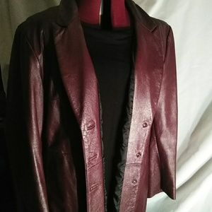Burgundy leather jacket XL